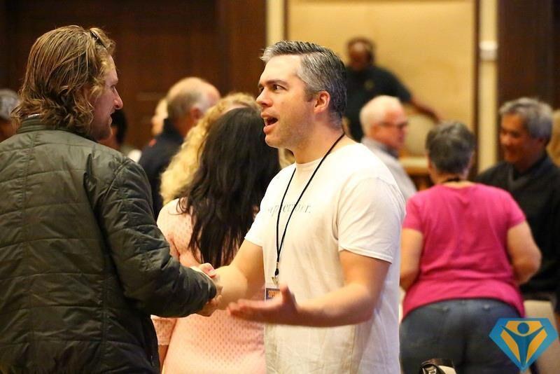 Clay meeting Matt Mullenweg, founder of WordPress.